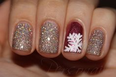 Sparkly snow flake nails