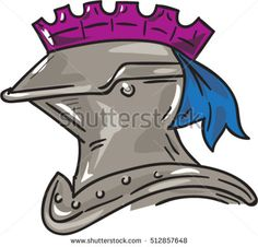 Drawing sketch style illustration of a knight armor helmet viewed from the side set on isolated white background.  #knight #sketch #illustration