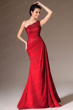 eDressit 2014 Novedad Rojo Solo Hombro Encaje Arriba Vestido de Fiesta Largo(00140102)