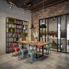 Sala da pranzo in stile industriale 02