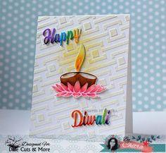 Happy Diwali, Die Cuts And More, stampoholic, DCAM, DCAM Stencils, Box Maze Stencil, Blog Hop, Copics, Diwali Greetings