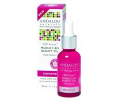 Andalou Naturals Moroccan Beauty Oil - 1000 Roses. Andalou Naturals Fruit Stem Cell Science renews skin at the cellular level.  A sensory experience, this silky, lightweight beauty oil, with Alpine Rose Stem Cells, delivers intense hydration and deep cellular support to soothe, nourish, and transform sensitive skin. Pomegranate oil, rich in tannins and polyphenols, tones and tightens as Argan oil protects skin's hydro lipid barrier for a naturally flawless complexion. Dermatologist Tested