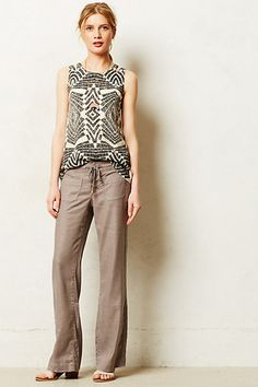 Perfect pants for working from home. I love the whole look. Level 99 Lana Linen Trousers #anthropologie