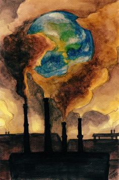 """""""This photo demonstrates how our world is being destroyed. Our generation oblivious to the impact that they pollute the earth. The government in America is so concerned with the growth of the economy Global Warming Poster, Global Warming Drawing, Global Warming Project, Air Pollution Poster, Earth Drawings, Environment Painting, Save Environment Posters, Save Our Earth, Poster Drawing"""