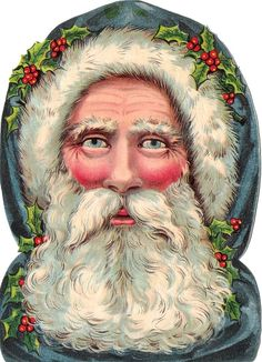 Victorian scrap, die cut, old-fashioned, Christmas craft, scrapbooking material, Father Christmas, Santa Claus, Saint Nicholas, Weihnachtsmann, head only