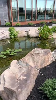 Beautiful backyards create additional living space on your property. Take your outdoor living space to the next level by adding the soothing sights and sounds of water to your landscape! Garden Pond Design, Japanese Garden Design, Landscape Design, Bog Garden, House With Garden, Garden Stream, Tire Garden, Zen Rock Garden, House In Nature