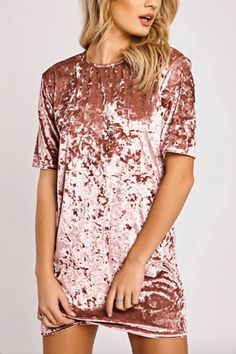 Pink Velvet Round Neck Mini T-Shirt Dress - US$17.95 -YOINS