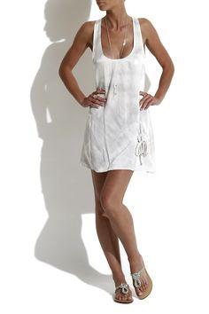 Grey-white tank top dress
