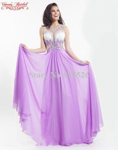 2015 Viman's Bridal Sexy Robes De Soiree Appliques Lace Beading Crystal Scoop Floor-Length Chiffon Dress Free Shipping AW02