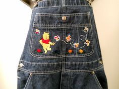 Disney Winnie The Pooh Blue Jean Overalls Womens Med Dancing Bear Bees Flowers  #Disney #Overalls