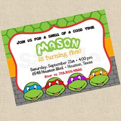 Printable DIY Ninja Turtles Inspired Invitations, Party Invite on Etsy, $12.00