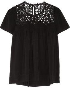 SEA - Crocheted Cotton-paneled Woven Top - Black