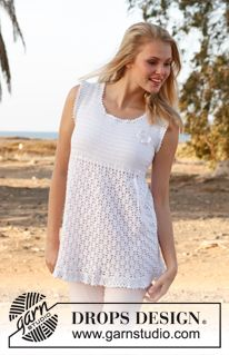 """Free Pattern. Crochet DROPS tunic with lace pattern, flounce at the bottom and butterfly for decoration in """"Cotton Viscose"""". ~ DROPS Design"""