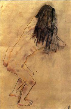 "An example of one of Oskar Kokoschka's ""lightning studies"" while he was a student at the Kunstgewerbeschule in Vienna."