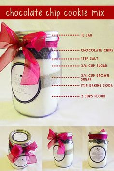 Chocolate chip cookie mix in a mason jar ... perfect as a Christmas gift