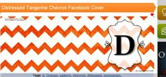 "Distressed Tangerine Chevron with Monogram ""D"" Facebook Cover 