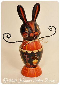 Halloween folk art bunny egg cup by Johanna Parker