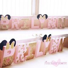 Pink and Gold Minnie Mouse Letters - Pink and Gold Party - Custom Letters - Glitter Letters - Minnie Mouse Party www.lovepinksugarshoppe.com