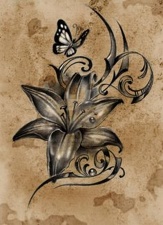 Lilly Flower Tattoo, Butterfly With Flowers Tattoo, Lillies Tattoo, Flower Tattoo Foot, Flower Tattoo Shoulder, Butterfly Tattoo Designs, Drawing Flowers, Flower Cover Up Tattoos, Flower Sleeve