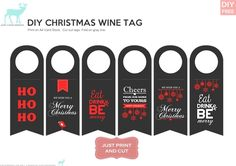 FREE DIY XMAS WINE BOTTLE TAGS. Esp useful if you dont have a gift bag! - JustLoveDesign