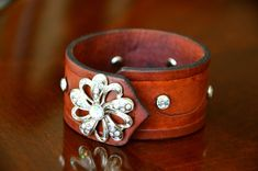 Texas Bling Leather Cuff mixes leather with bling. Hand tooled and painted with care. on Etsy, $35.00