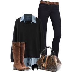 A fashion look from February 2015 featuring Calvin Klein jeans, Salvatore Ferragamo boots and Louis Vuitton handbags. Browse and shop related looks.