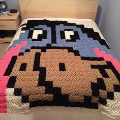 Eeyore pixel crochet blanket by jodie.hammond - Pattern: https://www.pinterest.com/pin/374291419001776243/