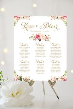 Wedding Seating Chart UP TO 9 TABLES Large by CharmingEndeavours