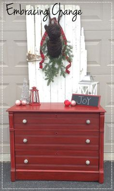 Antique Dresser in Tricycle Milk Paint - Miss Mustard Seed Milk Paint in Tricycle - Embracing Change