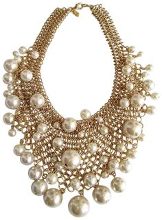 Amazon.com: Kenneth Jay Lane Gold Plated Mesh And Faux Pearl Bib Necklace: Kenneth Jay Lane: Jewelry