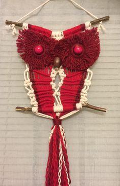 OWL #52 Macrame Wall Hanging, acrylic, cotton