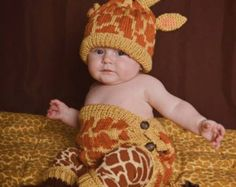 Knit Baby Giraffe Diaper Cover and Hat set
