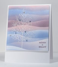 handmade Christmas card ... sponged layers of pastel blues and pinks ... bare white skeleton tree with some baubles ... delightful!!
