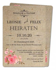 Klassische Hochzeitseinladungskarten │ Planet-cards.de