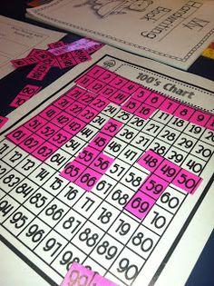A day in first grade: 100's chart math fun