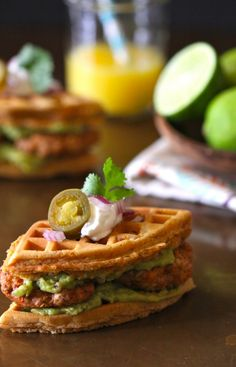 spiced mini waffle breakfast sandwiches with chicken chorizo & guacamole www.climbinggriermountain.com