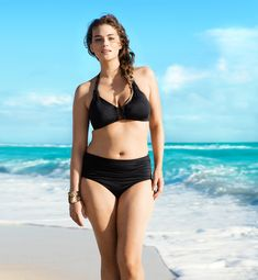 """H & M's New """"Plus-Size"""" Swimwear Model Jennie Runk. She looks great in these swimsuits! It is nice to see clothes you are considering buying pictured on an average sized person"""