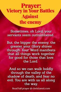 PRAYER: BATTLES AGAINST THE ENEMY. Spiritual Warfare Prayer.