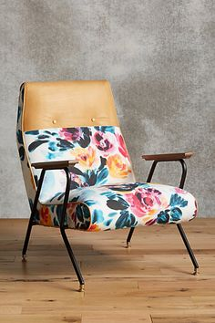 not this but an accent chair with classic lines and either in a really colorful fabric or with a super colorful throw and pillow Quentin Chair, Vivid Floral #anthropologie