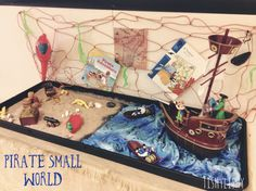 "Inspired by our novel study book ""Ten little pirates"" we have a small world tray set up. The children are enjoying playing in there this week. Pirate Activities, Eyfs Activities, Nursery Activities, Activities For Kids, Reggio Emilia, Early Childhood Centre, Eyfs Classroom, Tuff Tray, Pirate Adventure"