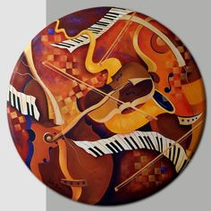 Decorative Music Neutral TonEconomical Rind Labelses Canvas Wall Art by Artist Juleez