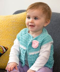 Crochet a sleeveless sweater for your favorite fashionable baby. This lighter weight yarn is nice for sweet little garments. And choosing Baby Hugs gives you confidence that you are using the best tested yarn for your baby. Crochet Baby Sweater Pattern, Crochet Baby Sweaters, Baby Sweater Patterns, Crochet Baby Cardigan, Baby Girl Sweaters, Baby Patterns, Crochet Clothes, Crochet Patterns, All Free Crochet