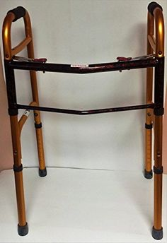 Deluxe Two Button Gold Paisley Folding Walker Adjustable 32 to 39 Adult -- Click the image to view the details
