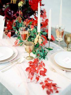 Autumn Leaves Runner | Melanie Nedelko Fine Art Film Photography | Crimson and Gold Fall Foliage Wedding