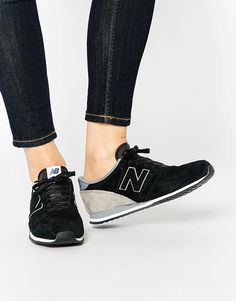 New Balance   New Balance 420 Black Perforated Suede Trainers at ASOS