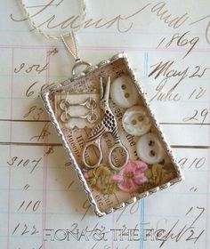 Fiona & The Fig  Victorian Sewing Assemblage Shadow Box Soldered Necklace Pendant Charm