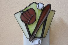 Stained Glass Night Light BaseballLead by Stainedglasslove on Etsy