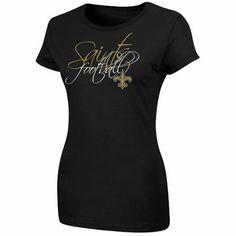New Orleans Saints Ladies Leather Wrap Bracelet - Black