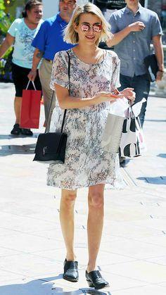 56d290b834 Celebrity Trend Alert  Rainbow Mirrored Sunglasses - Emma Roberts from