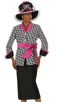 2pc Nubiano Church Suit In Black With White And Magenta, Dot Print Contrast Sash And Silk Look